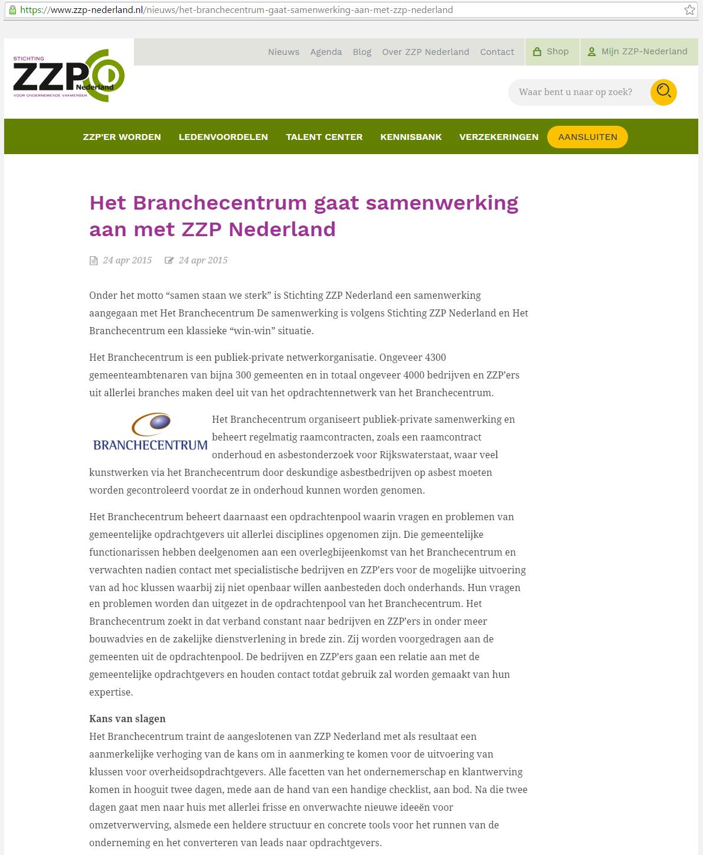 ZZP Branchecentrum ZZP Nederland ZZPNederland